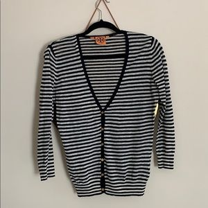 Tory Burch small s black stripe cardigan sweater
